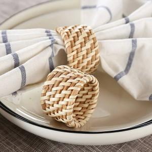 6 pz / set Tovagliolo ristorante di lusso solido hotel pieghevole bocca fiore stoffa e anello portatovagliolo in rattan fatto a mano