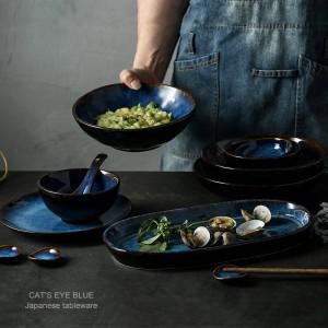 Servizio da tavola in ceramica blu scuro a 7 teste o 14 teste o 32 teste piatto da portata in porcellana
