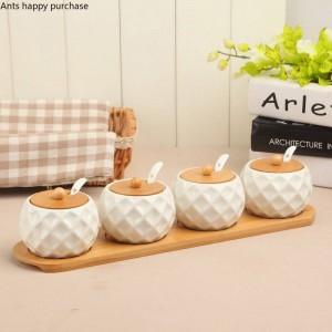 7pcs vasetti di spezie sferiche in legno di bambù in ceramica set di shaker di pepe sale sale condimenti spray cucina attrezzo della cucina