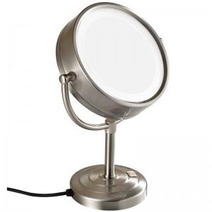 Specchi per trucco illuminati a doppia faccia 10X con ingrandimento da 8,5 pollici Specchi per trucco illuminati in piedi sul tavolo da toeletta Finitura nichel, ingrandimento 7x