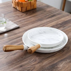 8 e 10 pollici Manico in legno Piatto da pranzo in marmo Piatto da portata Piatto da dessert Piatto da portata Piatto da dessert