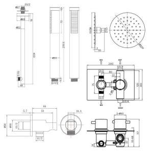 """Set soffione termostatico per miscelatore tondo ultrasottile da 8 """"con testina manuale cromata per valvola da bagno"""