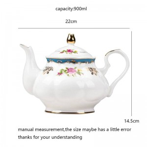 Bollitore per tè pomeridiano da giardino in stile europeo da 900 ml Teiera in ceramica con osso in ceramica / Bicchieri per la casa Filtro per l'acqua del tè al latte Bollitore