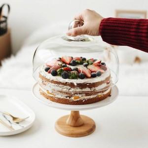 9 '' Supporto per torta composta di ceramica Vassoio da dessert in porcellana decorativa Copertura in vetro per utensili da tavola per compleanni e matrimoni