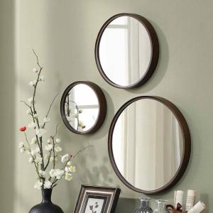 A1 1 confezione da parete in legno rotonda da bagno specchio appeso a parete specchio camera da letto specchio specchiera specchio per il trucco wx8231340
