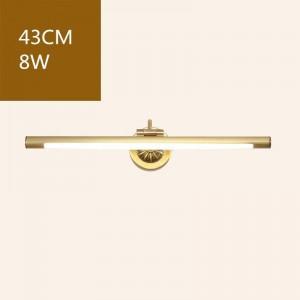 Luci anteriori a specchio in rame americano per WC da bagno Lampada a LED per mobili Lampada a sospensione per trucco Home Deco Wall Sconce Light Fixture