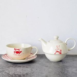 Americano stile country mucca animale maiale pollo pollo modello in ceramica doppia pentola tazza e piattino pomeridiano tè nero caffè