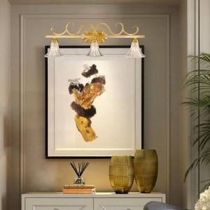 American County TOILET Lampada da parete a specchio frontale Doccia in rame europea Lampade a LED in vetro impermeabile