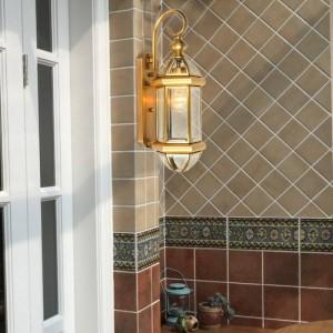 Applique da parete in rame in stile americano Impermeabile balcone balcone cortile navata lampade applique da parete Country Decor Led Arandela