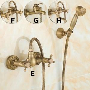 Rubinetti per vasca in ottone spazzolato antico Montaggio a parete Miscelatore per lavabo Miscelatore Gru con doccetta Soffione per vasca e doccia