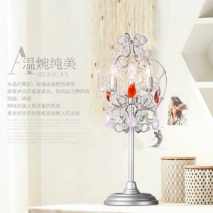Portacandele in cristallo Athena Candeliere a led Lampada da terra in cristallo rosa per spogliatoio Lampada da tavolo a led da comodino Abajur