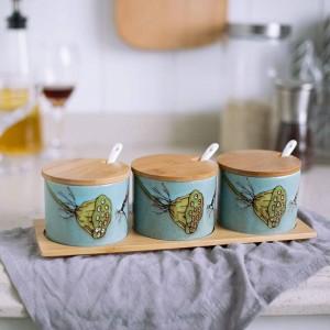 Condimento in ceramica di bambù Uccello in ceramica dipinto a mano Vasetti per spezie Set per pentole Sale Pepe Agitatori Condimento Attrezzo da cucina