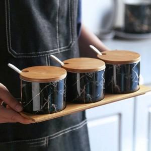 Bambù Legno Ceramica Condimento Marmo Vasetti per spezie Pentola per salse Set Agitatori per pepe in sale Spray per condimento Strumento da cucina