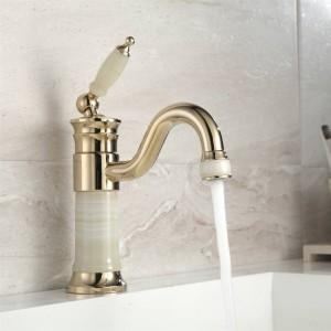 Rubinetto per lavabo Corpo in giada in ottone con rubinetto per lavabo in marmo Maniglia singola Lavandino per lavabo finitura oro Gru per bagno XT616