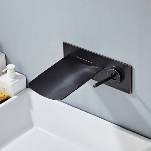 Rubinetto per lavabo Rubinetto per cascata a parete in nichel LED Rubinetto per lavabo Maniglia singola Bagno nascosto rubinetto per cascata caldo e freddo A1016