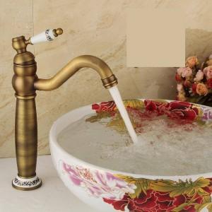 Rubinetti per lavabo Rubinetto per lavabo in ottone antico Rubinetto per acqua calda e fredda Rubinetti per lavabo da bagno in porcellana bianca e blu monoforo