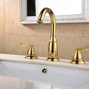 Rubinetti per lavabo Ottone Dorato 3 fori Doppia maniglia Lavandino Rubinetto per vasca da bagno di lusso Rubinetti per vasca Miscelatore acqua calda fredda XR8220
