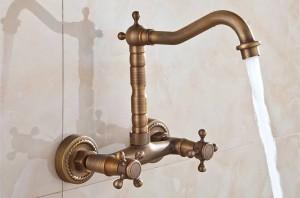 lavandino del bagno cucina lavello miscelatore rubinetto girevole bronzo antico stile moda parete 9058A