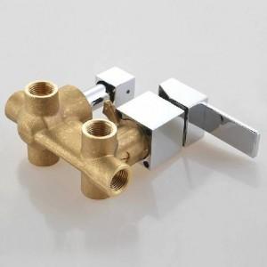 Miscelatore a parete per bagno con miscelatore a parete, rubinetto doccia, 3 uscite in ottone massiccio da incasso a parete