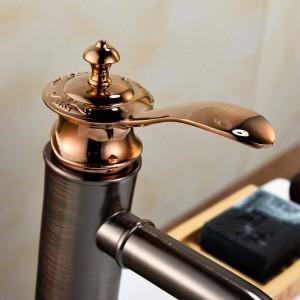 Rubinetti per bagno Rubinetto color bronzo lucidato a olio Rubinetto per vasca in ottone con miscelatore per lavabo con acqua calda e fredda Gru per lavabo 9275