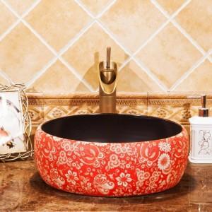 Lavabo da bagno Lavabo in ceramica Lavabo da appoggio Guardaroba Dipinto a mano Lavello Lavelli bagno lavandini lavabo vintage rosso