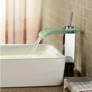 Rubinetto per lavabo bagno miscelatore ottone cromato quadrato vetro nero cascata rubinetto BF038