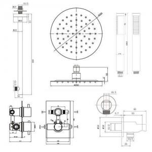 Set soffione doccia termostatico per bagno (valvola miscelatrice termostatica cromata + testa tenuta in mano)