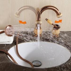 Rubinetto per vasca da bagno in ottone con ponte dorato Rubinetto per lavandino da bagno Set 3 pezzi Miscelatore per lavabo da doccia in ceramica con diamante in ceramica XR8212