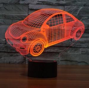 Lampada da illusione 3D per auto Beatles, luce notturna a LED con interruttore a sfioramento USB Gradiente colorato L'acrilico incide la luce notturna creativa visiva 3D