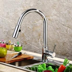 Migliore qualità e vendita al dettaglio Estrarre rubinetto da cucina a bassa pressione in ottone Colore nero Deck Miscelatore da cucina Miscelatore Pull Up LAD-59
