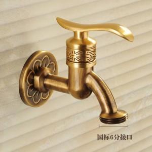 Rubinetto rubinetto Art Deco bronzo antico ottone bagno mop rubinetto a parete lavatrice giardino esterno rubinetti acqua HJ-8665F