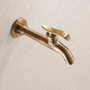 Rubinetto Bibcock Gru da giardino lunga ottone antico bagno mop lavello rubinetti montaggio a parete lavatrice rubinetti acqua giardino THJ-8661F