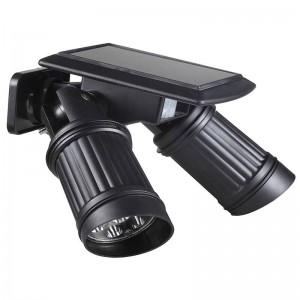 Grande promozione PIR alimentato a energia solare LED sensore doppia lampada orientabile Luce scena Sicurezza Spot Illuminazione Impermeabile Esterno
