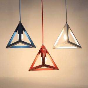 Lampade a sospensione a LED moderne semplici colori macaron Lampada a sospensione triangolare in ferro arte Lampada da camera per bambini camera da letto Foyer