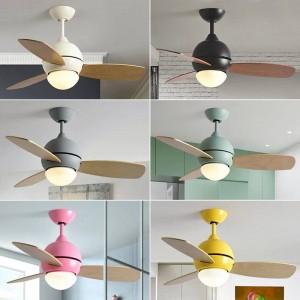 Moderno e semplice ventilatore a soffitto colorato con luce macaron camera dei bambini soggiorno LED tre PC Ventilatore a foglia in legno con luce