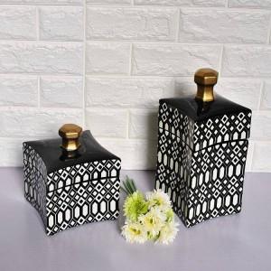 Vaso decorativo morbido in ceramica stile semplice stile nordico in ceramica con superficie geometrica in bianco e nero