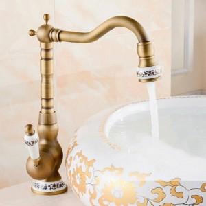 Bronzo nero / antico spazzolato lavandino del bagno rubinetti del bacino miscelatore a freddo caldo rubinetto rubinetto 360 girevole gru rubinetti rubinetto della cucina