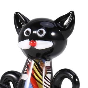 Black Kitten Mini Cat Figurine Vetro Animale Statua Ornamento Vetro Regalo di San Valentino Accessori decorazione della casa feng shui