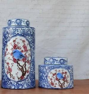 Ornamenti in smalto blu e bianco Fiori e uccelli Vaso in porcellana Decorazione Circolare Nuovi mobili classici per la casa Vaso in ceramica