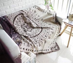 Coperta antiscivolo geometrica in stile Bohemia Copridivano decorativo Coprivaso su divano / Letti / Piano Viaggio Coperte antiscivolo