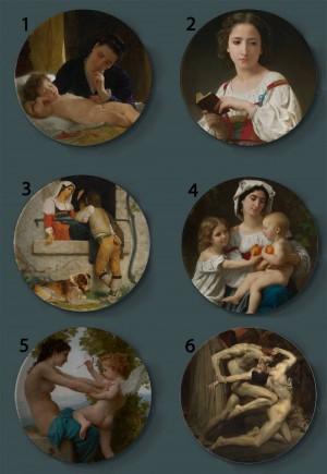 Bouguereau Pittura Piatti decorativi Piatto artistico per la casa in ceramica Esposizione di sfondo per hotel Piatto per pittura a olio per madre e bambino
