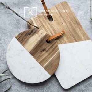 Vassoio occidentale del piatto di impiallacciatura della noce del tagliere del marmo del piatto di pane