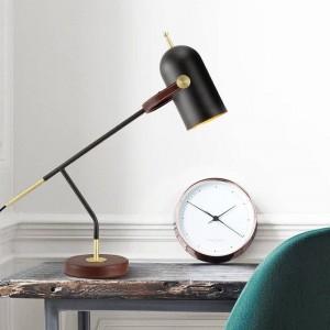 Breve decorazione moderna lampada da tavolo scrivania leggera nera nordica E27 lampada a led illuminazione camera da letto semplice arte decorativa domestica