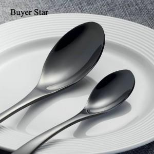 Set di posate nero a 4 pezzi Set di stoviglie in acciaio inossidabile in oro Set di posate da tavola a forchetta Coltello da tavola nero Set di posate da spedizione