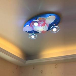 Cartoon soffitto Lampada a risparmio energetico Led Camera per bambini Camera da letto Ragazzi e ragazze Kitty Hello Kitty Telecomando Bluetooth 220V