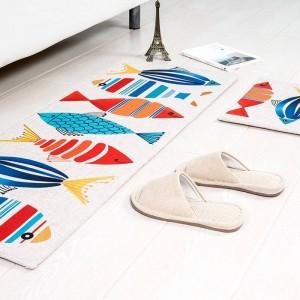 Cartone animato modello di pesce MAT Cuscino quadrato Cuscinetto della porta della cucina Bagno Antiscivolo Rimuovere la polvere Tappetini Tavolo Tappeto Biancheria da letto Tappeti gattino