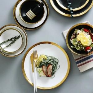 Piatto da colazione in ceramica con piatto in ceramica per uso domestico Piatto da cucina europeo semplice e creativo con stoviglie con bordo dorato