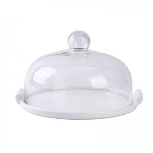 Piastra per tortiera in vetro Coperchio in vetro Dessert per pane Dessert per frutta Conservare il vassoio Provare espositore Vassoio con coperchio