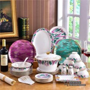 Set di stoviglie in ceramica originalità moda osso Set di stoviglie 58 pezzi design colorato Set da pranzo a righe inaugurazione della casa