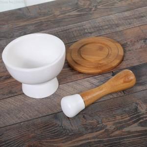 Ciotola di macinazione in ceramica Ciotola di aglio Peeling Aglio Cibo Macinino per verdure Bastone di bambù Macinino per spezie Macinacaffè